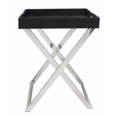Black Faux Stingray Folding Side Table