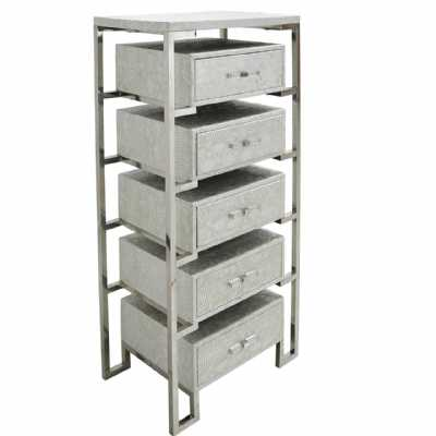 Modern 5 Drawer Open Cabinet in Antique Silver Faux Snakeskin Leather