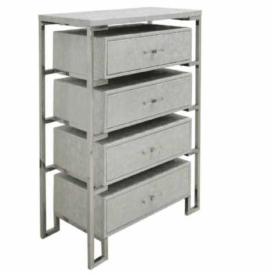 Modern 4 Drawer Open Cabinet in Antique Silver Faux Snakeskin Leather
