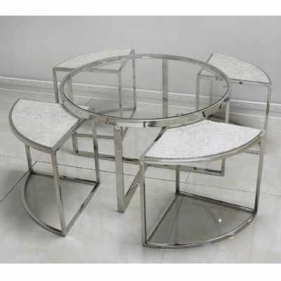 Antique Silver Faux Snake And Glass Coffee Table