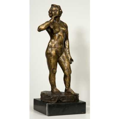 Aged Bronze Woman Statue in Life Pose