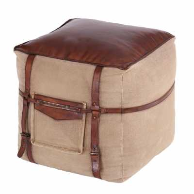 Railway Leather Furniture Leather And Fabric Square Pouffe