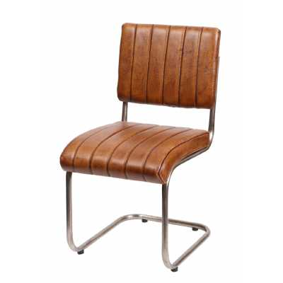Distressed Tan Brown Ribbed Leather Dining Chair with Metal Frame