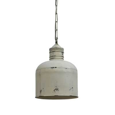 Railway Leather Furniture Iron Pendant Cargo Light in Distressed White Finish