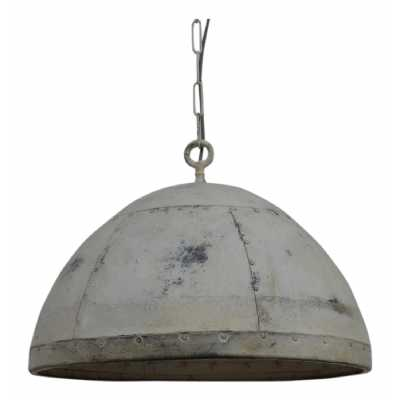 Railway Leather Furniture Iron Pendant Cargo Light in White Finish