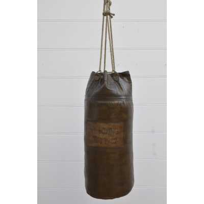 Eclectic Furniture Vintage Brown Leather Punch Bag Boxing Fitness Sport