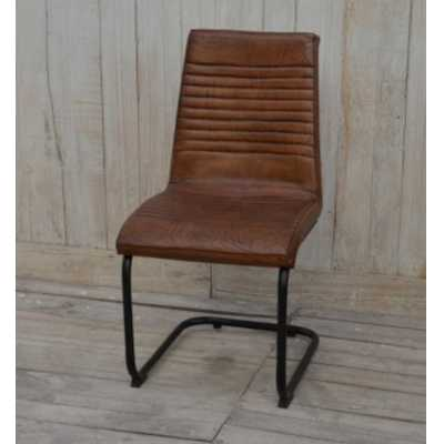 Eclectic Furniture Brushed Buffalo Leather Dining Chair With Metal Frame