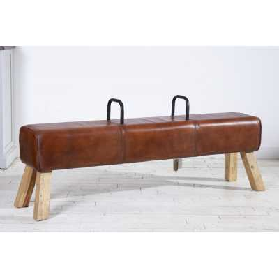 Eclectic Furniture Pommel Horse Brown Leather Low Dining Bench