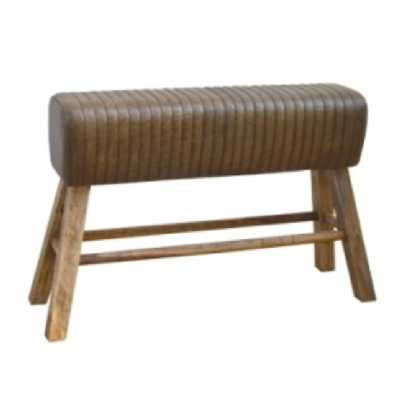 Eclectic Furniture Brushed Buffalo Leather Pommel Horse Living Room Bench With Wooden Legs 122 x 76cm