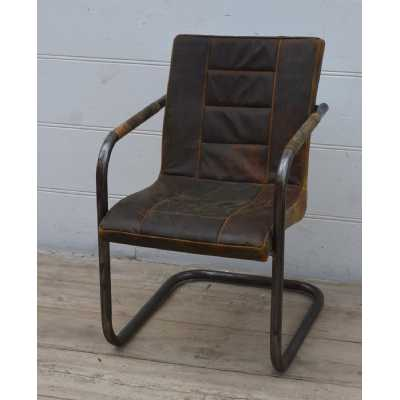 Antique Style Ribbed Brushed Buffalo Dusty Leather Occasional Chair With Iron Frame 53x63x84cm