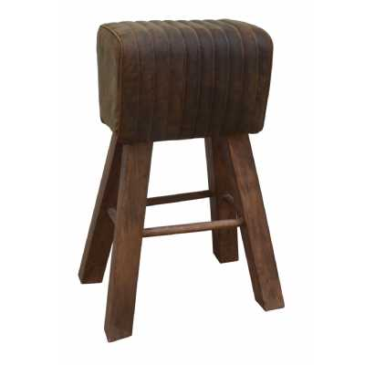 Eclectic Furniture Tall Brushed Buffalo Leather Pommel Horse Living Room Stool 50 x 75cm