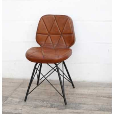 Eclectic Furniture Geometric Reddish Brown Leather Padded Comfy Chair on Black Iron Stand