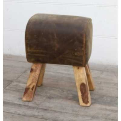 Eclectic Furniture Brushed Brown Buffalo Leather Small Pommel Foot Stool on Wooden Legs 43x29x53cm