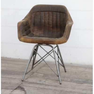 Antique Brushed Buffalo Leather Solid Back Occasional Tub Desk Chair 62x49x81cm