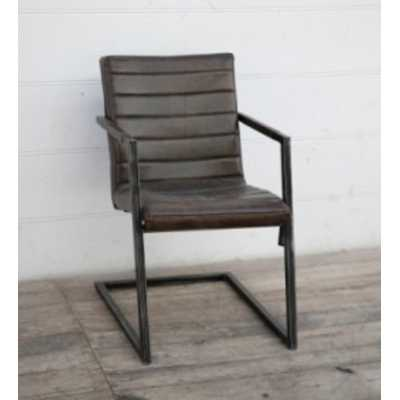 Eclectic Furniture Ribbed Brushed Dusty Black Buffalo Leather Comfy Armchair on Iron Frame
