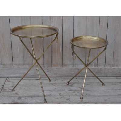 Upcycled Retro Vintage Set Of 2 Eclectic Furniture Gold Metal Round Tray Serving Tables