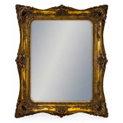 Large Classic French Square Wall Mirror with Gold Embellished Frame