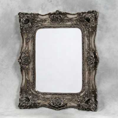 French Style Square Large Wall Mirror with Silver Classic Ornate Frame
