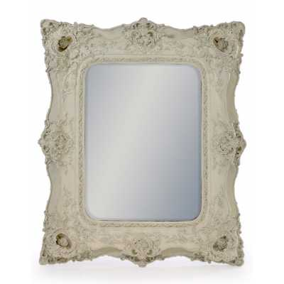 Square French Style Large Wall Mirror with White Classic Ornate Frame