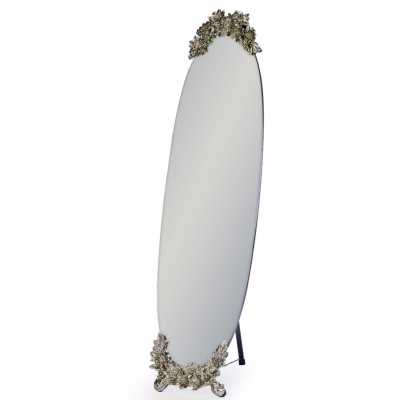 Oval Frameless Cheval Mirror With Butterfly Metallic Cresting Detail