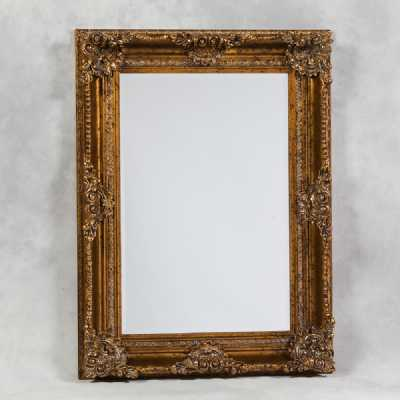 Gold Rectangular Classic Ornate Carved Wall Mirror