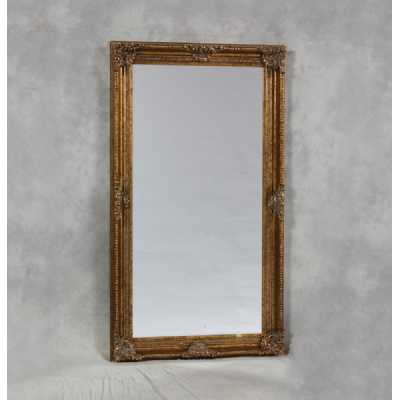 Large Rectangular Classic Wall Mirror with Antique Style Gold Frame