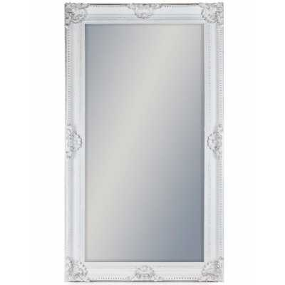 Large White Rectangular Classic Wall Mirror with Embellished Frame