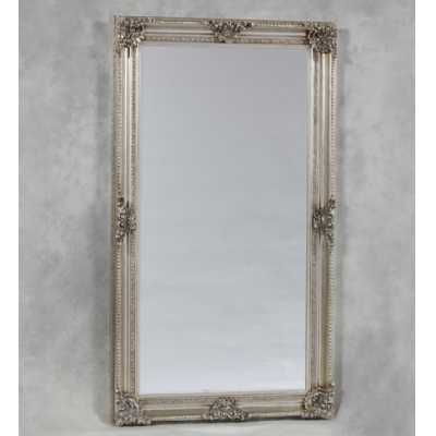 Extra Large Silver Finish Rectangular Classic Ornate Floral Mirror
