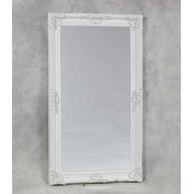 Extra Large White Finish Rectangular Classic Ornate Floral Mirror