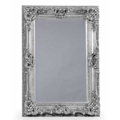 Small Rectangular Regal Wall with Mirror Antique Silver Ornate Frame
