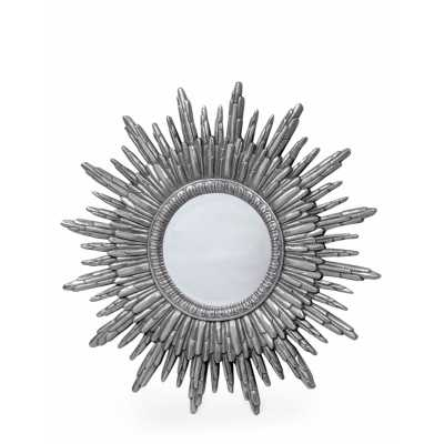 Large Antique Style Silver Painted Round Sun Wall Mirror 89cm Diameter