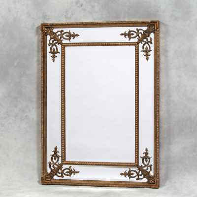 Large Rectangular Ornate Carved Gold Square French Wooden Framed Mirror
