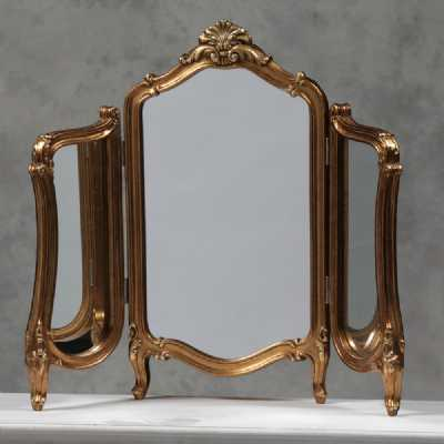 M314 Vintage Style Antique Gold Regency Dressing Table Folding Mirror