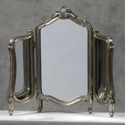 Shabby Chic Antique Silver Painted Regency Dressing Table Mirror