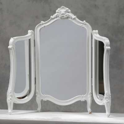 Shabby Chic White Painted Regency Folding Dressing Table Top Mirror
