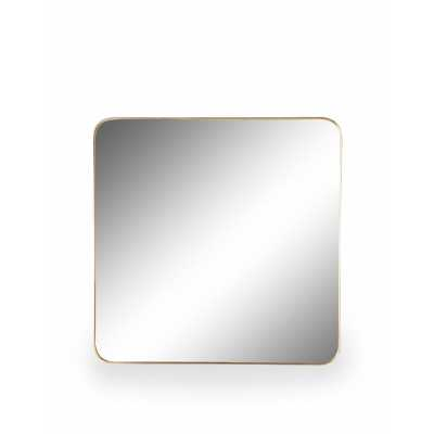 Large 70cm Square Gold Thin Framed Arden Wall Mirror