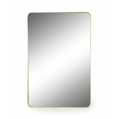 Large Rectangular Gold Thin Framed Arden Wall Mirror 120 x 80cm Glass