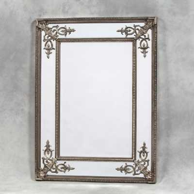 Silver Finished Large Rectangular Ornate Carved French Wooden Framed Mirror