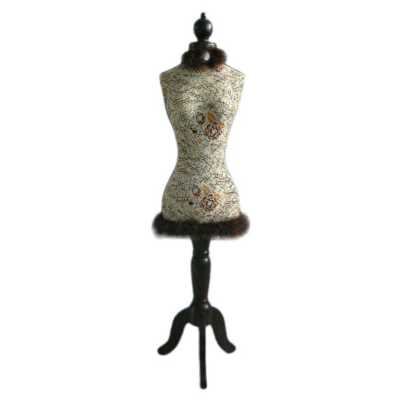 Rose Patterned Decorative Mannequin with Feather Trim