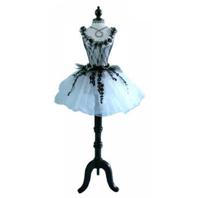 White And Black Floral Ballerina Dressed Decorative Mannequin