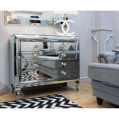 Modern Monroe 2 Over 3 Chest of Drawers Mirrored Glass Panels