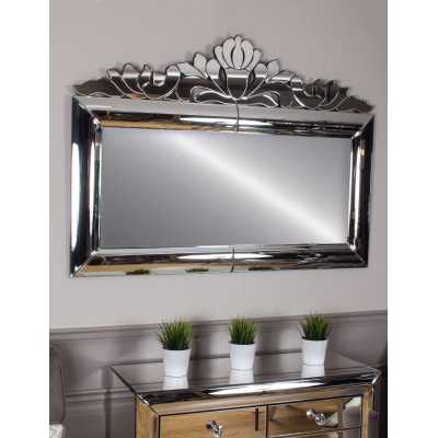 Monroe Vintage Style Mirrored Glass Rectangular Overmantle Mirror