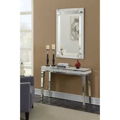 Modern Mirror and White Malibu Console Table and Wall Mirror Set
