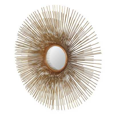 Gold Finished Retro Style Large Round Porcupine Wall Mirror