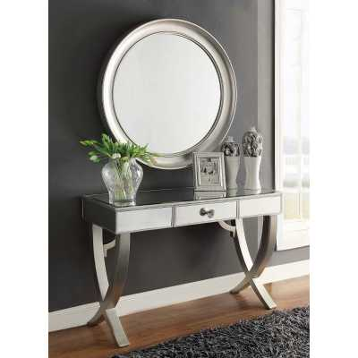 Modern Mercury Mirrored Top Console Table And Wall Mirror Set