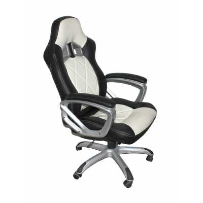 Memphis Black White Leather Match Office Chair