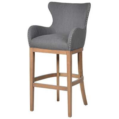 Grey Kitchen Bar stools chairs Modern chrome metal leather