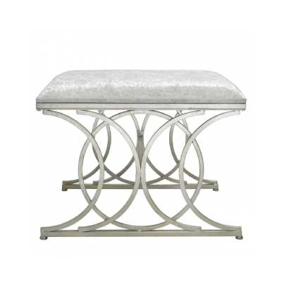 Silver Circle Design Stool With Velvet Upholstery Seat