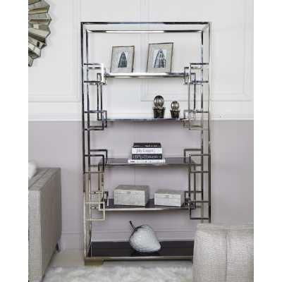 Geo Jax Glass Shelving Unit With Polished Steel Frame