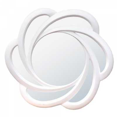 Floral White Gloss Round Bevelled Wall Mirror in a Modern Design